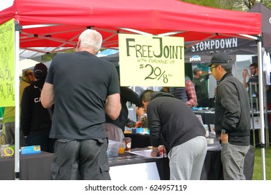 VANCOUVER - April 20,2017: People purchase marijuana during the annual 4-20 event in Vancouver, Canada on April 20, 2017.