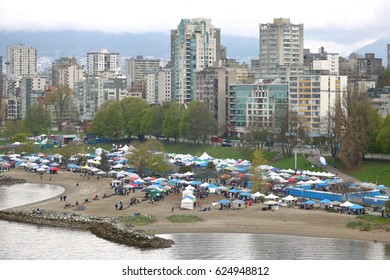 VANCOUVER - April 20,2017: Wide, high angle shot of the annual 4-20 event in Vancouver, Canada where marijuana is sold legally on April 20, 2017.