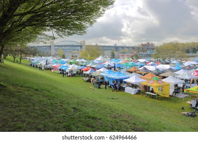 VANCOUVER - April 20,2017: Wide on an annual public marketplace where marijuana is sold legally during the annual 4-20 event in Vancouver, Canada on April 20, 2017.
