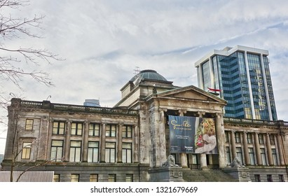 VANCOUVER, BC -29 DEC 2018- View of the landmark Vancouver Art Gallery (VAG), a major art museum located in Vancouver, British Columbia, Canada.