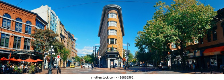 VANCOUVER, BC - AUG 17: Hotel Europe and street view on August 17, 2015 in Vancouver, Canada. With 603k population, it is one of the most ethnically diverse cities in Canada.