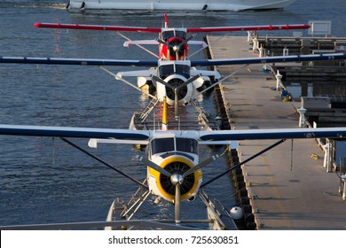 Vancouver, BC Aug 20, 2017 - Three De Havilland Beaver float planes docked at Vancouver's Harbour Airport