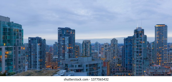 Vancouver BC British Columbia Canada downtown high rise apartment living cityscape morning view panorama