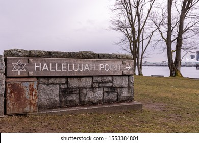 Vancouver, BC \ Canada - 14 March 2019: Hallelujah Point Monument in Stanley Park,  officially named Hallelujah Point in honor of the Salvation Army's 60 years of service in B.C