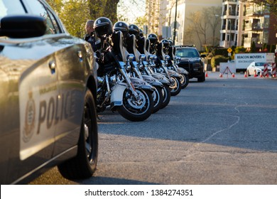 VANCOUVER, BC, CANADA - APR 20, 2019: VPD motorcycles and patrol vehicles at the 420 festival in Vancouver.