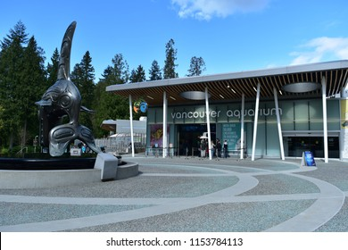 VANCOUVER, BC, CANADA APRIL 28, 2017.  The entrance to Vancouver Aquarium in Stanley park.  The aquarium is a popular attraction with tourists.