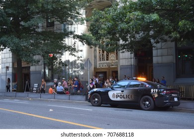 VANCOUVER, BC, CANADA AUGUST 26, 2017.  Crowds gather in downtown Vancouver to watch the filming of the movie Deadpool 2