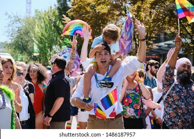 Vancouver, BC, Canada. August 4, 2019. Canadian Prime Minister Justin Trudeau and his son, Hadrian 5, march in the 2019 Vancouver Pride Parade in Vancouver, British Columbia.