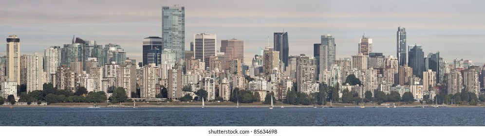 Vancouver BC Canada Downtown Skyline by English Bay Panorama