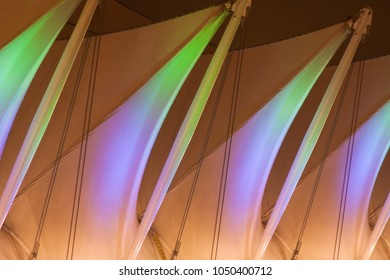 VANCOUVER, BC, CANADA - FEBRUARY 27, 2008: the close up shot of five white sails at Canada Place