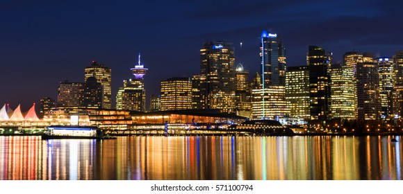 Vancouver, BC Canada- January 26th, 2017. Night view on Vancouver skyline opens from Stanly park.