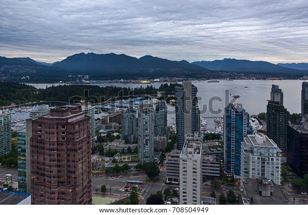 VANCOUVER, BC, CANADA - JULY 21, 2017 Vancouver cityscape. Ocean inlet and downtown buildings