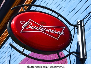 VANCOUVER BC CANADA JUNE 15 2015: Budweiser beers sign. From Anheuser-Busch InBev, Budweiser is the number selling one domestic beer in the United States