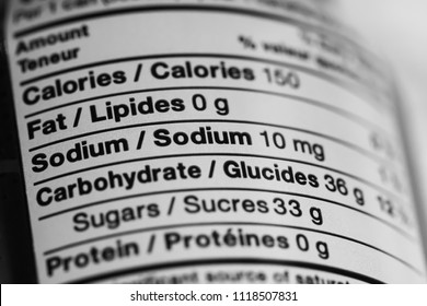 Vancouver BC / Canada - June 20th 2018 - A Nutritional Facts Label Focusing on Various Information