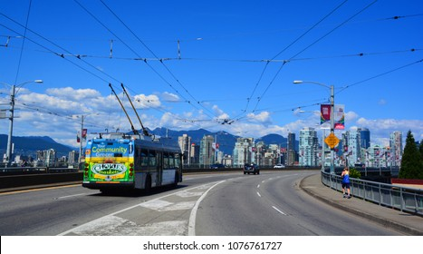 VANCOUVER BC CANADA JUNE 27 2015: Top of the Granville Street Bridge is an eight lane bridge in Vancouver. It spans False Creek and is 27.4 metres above Granville Island. It is part of Highway 99.