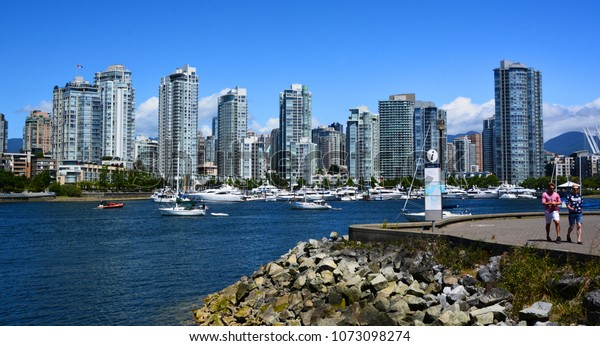 VANCOUVER BC CANADA JUNE 27 2015: Downtown Vancouver. It is the business, commercial, cultural, financial, government, and entertainment center