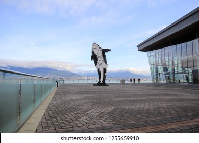 VANCOUVER BC CANADA JUNE 3 2014: Digital Orca is a 2009 sculpture by Douglas Coupland, located adjacent to the Vancouver Convention Centre is commonly referred to as Lego Orca or Pixel Whale.