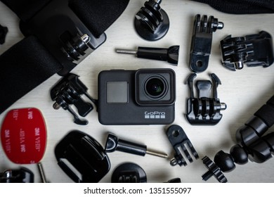 Vancouver, BC / Canada - March 25th 2019 : A Gopro Hero Action Camera with accessories