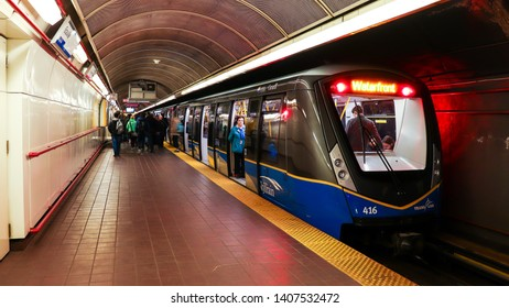 Vancouver, BC / Canada - May 03, 2019: The underground Granville Skytrain Station in downtown Vancouver.
