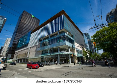 Vancouver, BC / Canada - May 09, 2019: Nordstrom in downtown Vancouver on Robson Street.