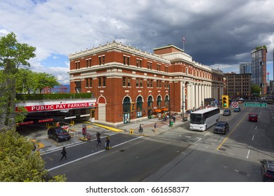 VANCOUVER BC, CANADA - May 15, 2017: Exterior view of Waterfront Station on West Cordova Street in Vancouver. Waterfront station was built by the Canadian Pacific Railway in 1914.