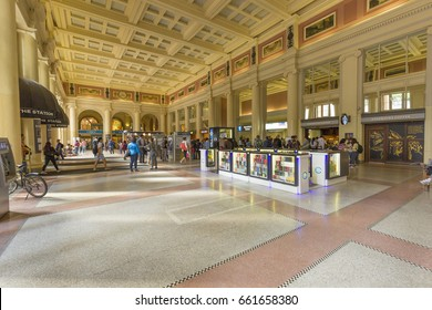 VANCOUVER BC, CANADA - May 15, 2017: Interior view of Waterfront Station on West Cordova Street in Vancouver. Waterfront station was built by the Canadian Pacific Railway in 1914.