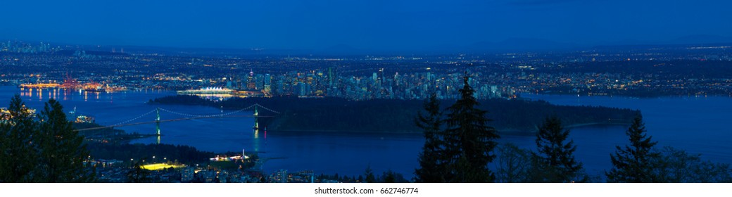 VANCOUVER BC, CANADA - May 15, 2017: Panoramic view of Vancouver and the surrounding area taken from Cypress Bowl in West Vancouver.