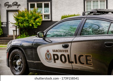 Vancouver, BC / Canada - May 17th 2020: A close-up shot of a Vancouver Police Department police cruiser, parked at the local detachment office located in Vancouver