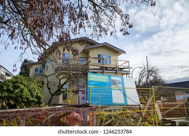 VANCOUVER, BC, CANADA - NOV 29, 2018: A home on Fraser street being redeveloped.