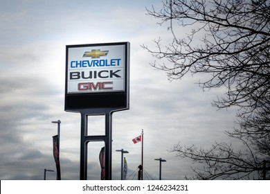 VANCOUVER, BC, CANADA - NOV 29, 2018: A General Motors dealership sign in the days following the announcement of GM plant closures across North America.