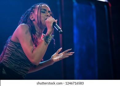 Vancouver, BC / Canada - November 20 2018: Amerian R&B singer-sonwriter Ravyn Lenae performing at the Orpheum Theatre