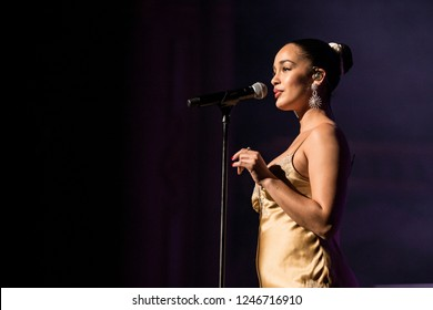 Vancouver, BC / Canada - November 20 2018: English singer-songwriter Jorja Smith performing at the Orpheum Theatre