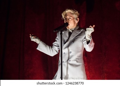 Vancouver, BC / Canada - November 8 2018: South African-born Australian singer Troye Sivan performing at the Queen Elizabeth Theatre