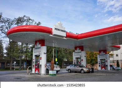 Vancouver, BC, Canada - Oct 12, 2019: A Petro-Canada gas station. Petro-Canada is a retail and wholesale marketing brand of Suncor Energy.
