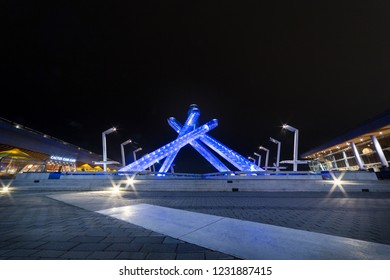 VANCOUVER, BC, CANADA - OCT 7, 2018 : The Olympic Cauldron in Coal Harbor, Vancouver, BC.