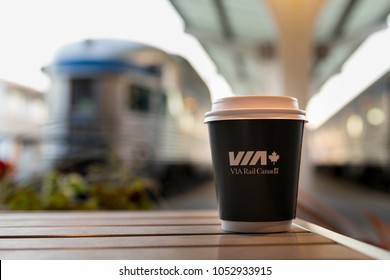 Vancouver, BC / Canada - October 03 2017: Via Rail Coffee cup at the Pacific Central Station