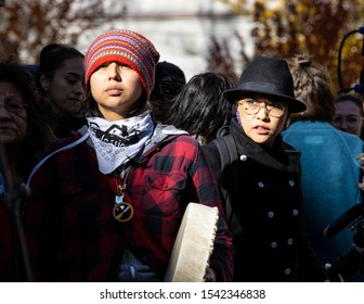 Vancouver, BC / Canada – October 25, 2019: First Nation representatives gather to march with Swedish climate activist, Greta Thunberg,  to protest Canada's and the world's inaction on climate change.