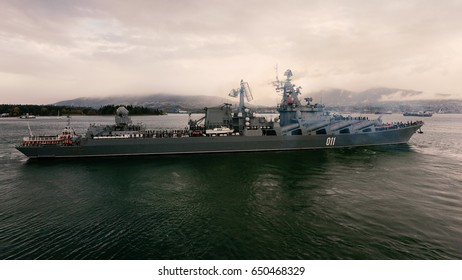 Vancouver BC, Canada: Russian Missile Cruiser Varyag leaves Vancouver Harbour on Remembrance Day November 11, 2011 after a 3-day visit.