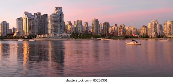 Vancouver BC Canada Skyline along False Creek at Dusk Panorama