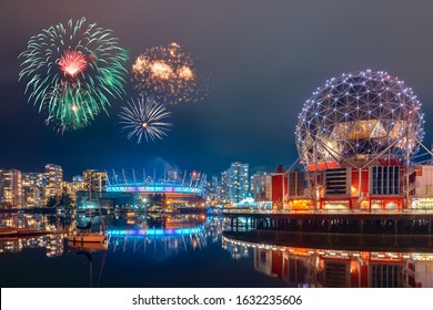 Vancouver BC Canada,January 1 2020.Vancouver new year eve fireworks celebration at Vancouver downtown