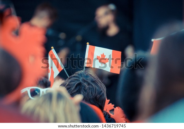 Vancouver BC Canada,July 1,2018.People celebration Canada's day at Downtown Vancouver BC Canada