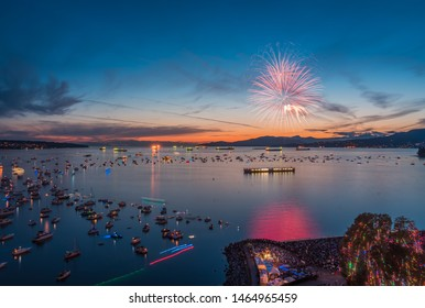 Vancouver BC Canada,July 27,2019.Vancouver fireworks festival,celebration of lights Vancouver,Canada