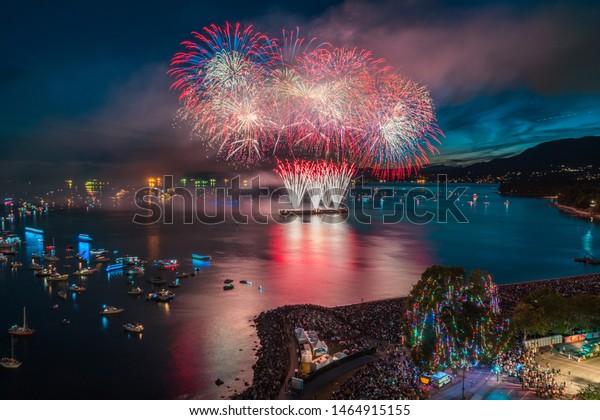 Vancouver BC Canada,July 27,2019.Vancouver fireworks festival-celebration of lights Vancouver 2019
