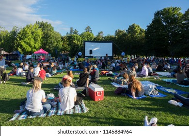 Vancouver BC Canada,July 8,2018. Evo Summer Cinema Movie at Second beach ,Stanley park Vancouver BC