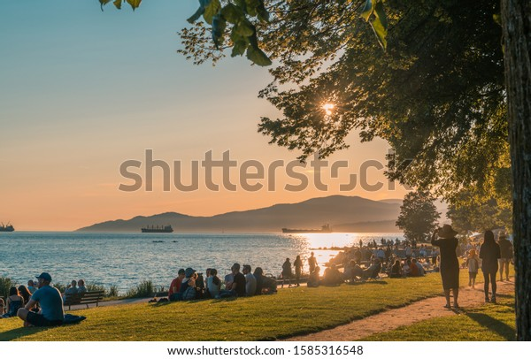 Vancouver BC Canada,June 2019.Vancouver beach summer sunset