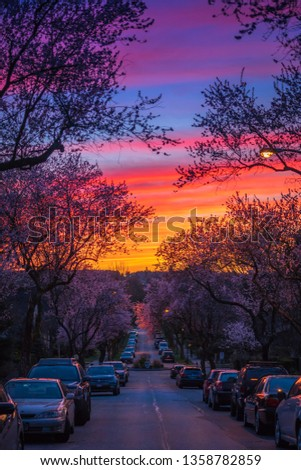 Vancouver BC Canada,March 27,2019.Vancouver street with sunset sky backgrounds