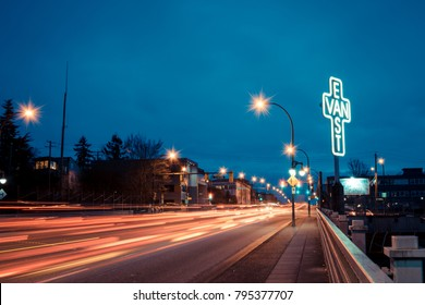 Vancouver BC Canada,Match 2016.east Vancouver logo with street evening