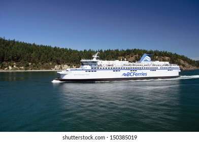VANCOUVER,  BC - JULY 23: A BC ferry between Vancouver and Vancouver Island on July 26, 2013. BC Ferries announced plans to build three new vessels on July 23, 2013
