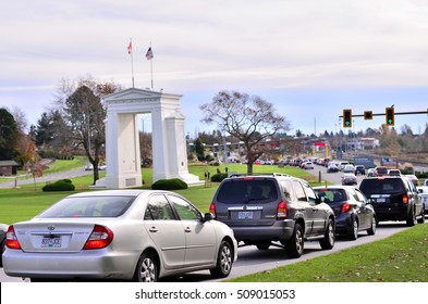 VANCOUVER, BC - OCTOBER 30 The peace arch border on October 30, 2016 in Vancouver, BC, Canada. Peace arch border between Canada and USA represent the world's longest undefended border.