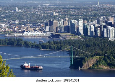 Vancouver, B.C. - panoramic view with Canada Place, Burrard Inlet, Coal Harbour, Lions Gate Bridge, downtown and Stanley Park